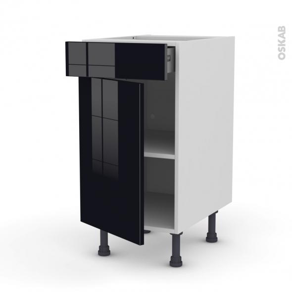 KERIA Noir - Meuble bas cuisine  - 1 porte 1 tiroir - L40xH70xP58