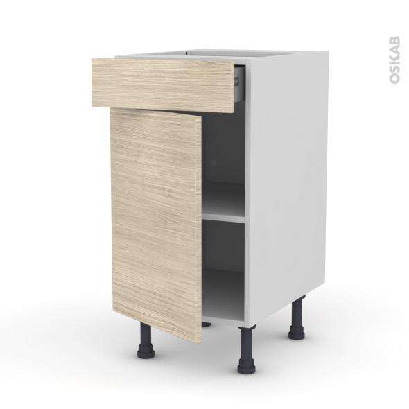Meuble de cuisine - Bas - STILO Noyer Blanchi - 1 porte 1 tiroir  - L40 x H70 x P58 cm