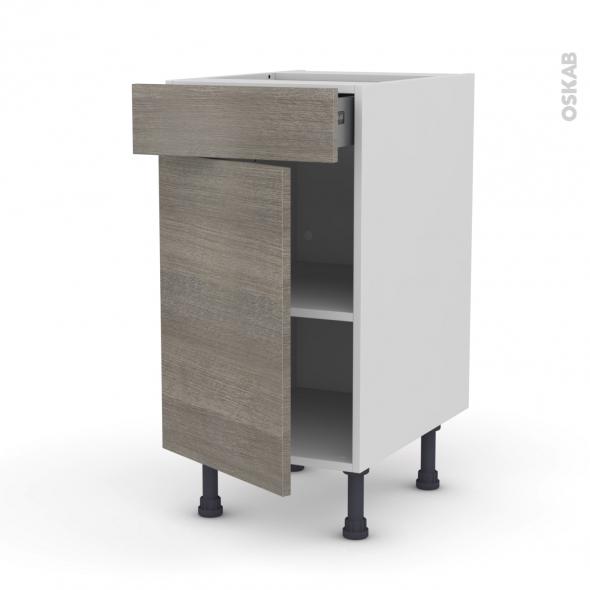 Meuble de cuisine - Bas - STILO Noyer Naturel - 1 porte 1 tiroir  - L40 x H70 x P58 cm
