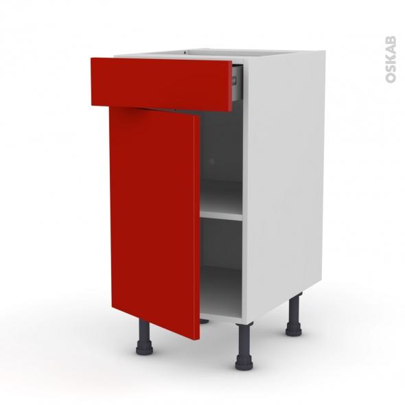 GINKO Rouge - Meuble bas cuisine  - 1 porte 1 tiroir - L40xH70xP58