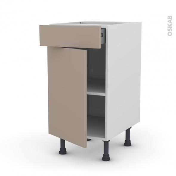Meuble de cuisine - Bas - GINKO Taupe - 1 porte 1 tiroir  - L40 x H70 x P58 cm