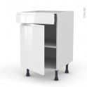 Meuble de cuisine - Bas - IPOMA Blanc brillant - 1 porte 1 tiroir  - L50 x H70 x P58 cm