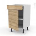 Meuble de cuisine - Bas - HOSTA Chêne naturel - 1 porte 1 tiroir  - L50 x H70 x P58 cm