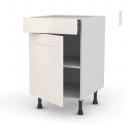 Meuble de cuisine - Bas - FILIPEN Ivoire - 1 porte 1 tiroir  - L50 x H70 x P58 cm