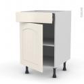 SILEN Ivoire - Meuble bas cuisine  - 1 porte 1 tiroir - L50xH70xP58 - gauche