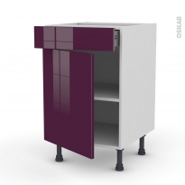 Meuble de cuisine - Bas - KERIA Aubergine - 1 porte 1 tiroir  - L50 x H70 x P58 cm