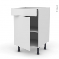 GINKO Blanc - Meuble bas cuisine  - 1 porte 1 tiroir - L50xH70xP58