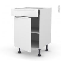 Meuble de cuisine - Bas - PIMA Blanc - 1 porte 1 tiroir  - L50 x H70 x P58 cm