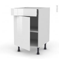 STECIA Blanc - Meuble bas cuisine  - 1 porte 1 tiroir - L50xH70xP58