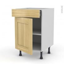 BASILIT Bois Brut - Meuble bas cuisine  - 1 porte 1 tiroir - L50xH70xP58