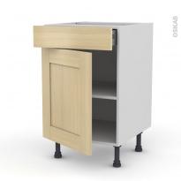 BASILIT Bois Vernis - Meuble bas cuisine  - 1 porte 1 tiroir - L50xH70xP58