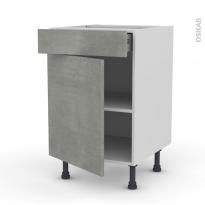Meuble de cuisine - Bas - FAKTO Béton - 1 porte 1 tiroir  - L50 x H70 x P58 cm
