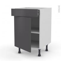 Meuble de cuisine - Bas - GINKO Gris - 1 porte 1 tiroir  - L50 x H70 x P58 cm