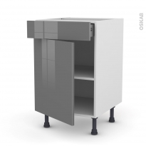 STECIA Gris - Meuble bas cuisine  - 1 porte 1 tiroir - L50xH70xP58