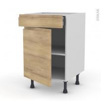 Meuble de cuisine - Bas - IPOMA Chêne naturel - 1 porte 1 tiroir  - L50 x H70 x P58 cm