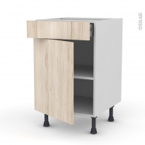 IKORO Chêne clair - Meuble bas cuisine  - 1 porte 1 tiroir - L50xH70xP58