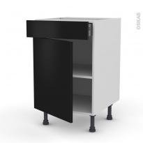 Meuble de cuisine - Bas - GINKO Noir - 1 porte 1 tiroir  - L50 x H70 x P58 cm