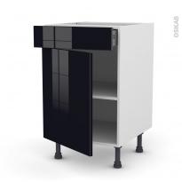 Meuble de cuisine - Bas - KERIA Noir - 1 porte 1 tiroir  - L50 x H70 x P58 cm