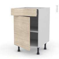 Meuble de cuisine - Bas - STILO Noyer Blanchi - 1 porte 1 tiroir  - L50 x H70 x P58 cm