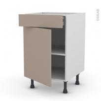 Meuble de cuisine - Bas - GINKO Taupe - 1 porte 1 tiroir  - L50 x H70 x P58 cm