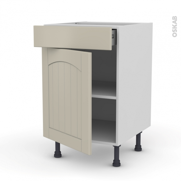 SILEN Argile - Meuble bas cuisine  - 1 porte 1 tiroir - L50xH70xP58 - gauche