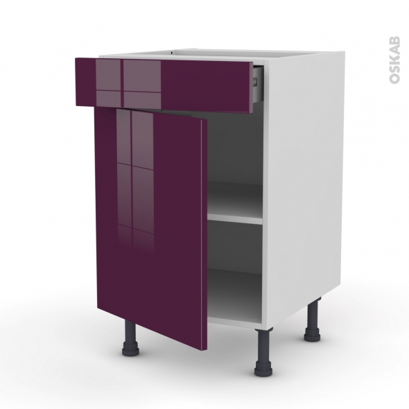 KERIA Aubergine - Meuble bas cuisine  - 1 porte 1 tiroir - L50xH70xP58