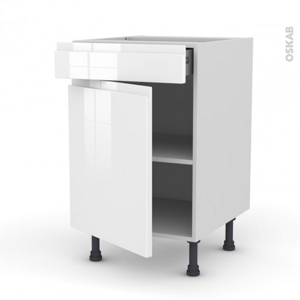 IPOMA Blanc - Meuble bas cuisine  - 1 porte 1 tiroir - L50xH70xP58