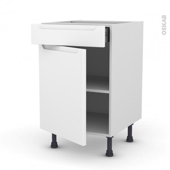 PIMA Blanc - Meuble bas cuisine  - 1 porte 1 tiroir - L50xH70xP58