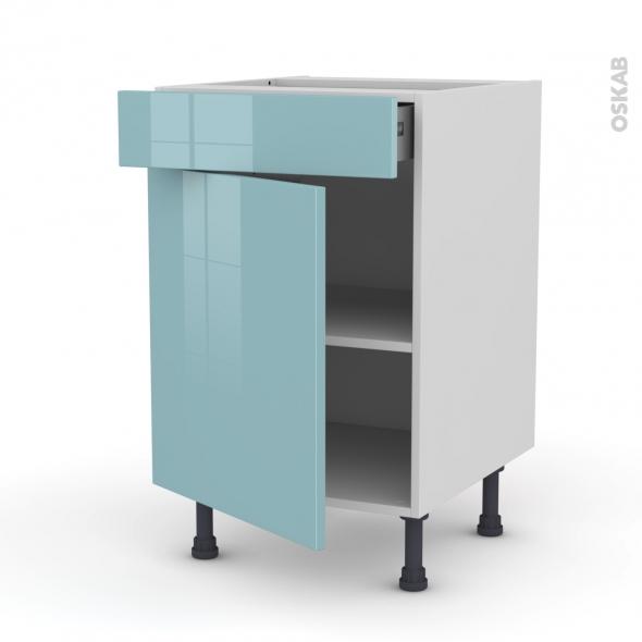 Meuble de cuisine - Bas - KERIA Bleu - 1 porte 1 tiroir  - L50 x H70 x P58 cm