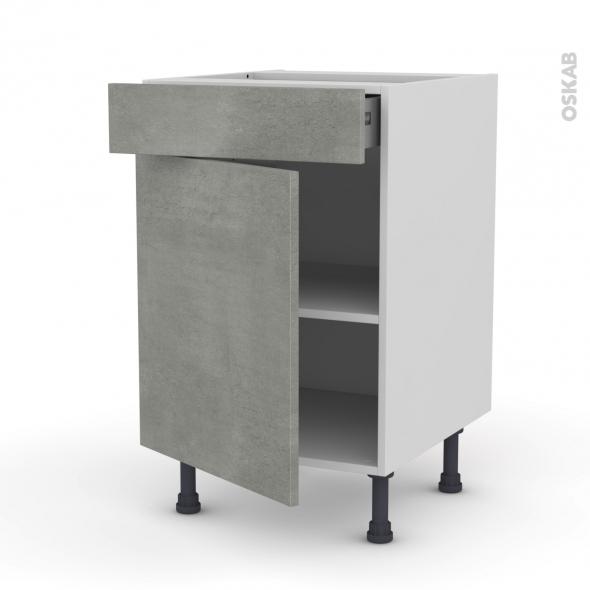 FAKTO Béton - Meuble bas cuisine  - 1 porte 1 tiroir - L50xH70xP58