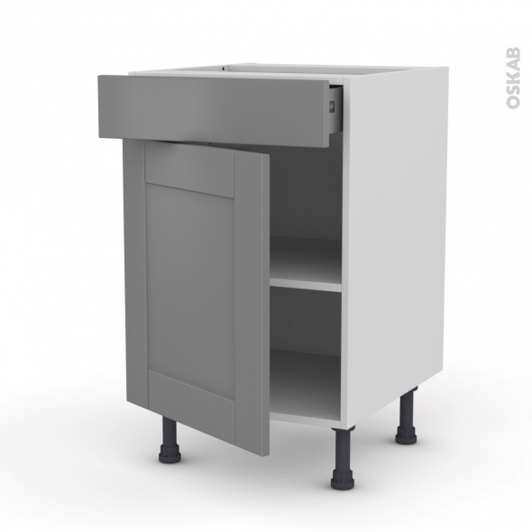Meuble de cuisine - Bas - FILIPEN Gris - 1 porte 1 tiroir  - L50 x H70 x P58 cm
