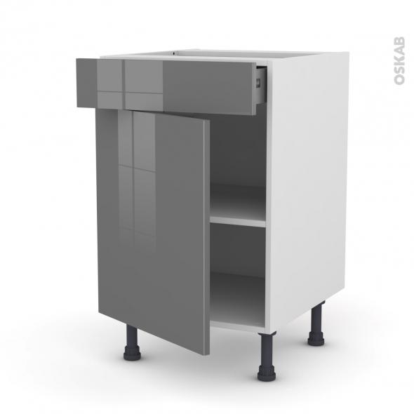 Meuble de cuisine - Bas - STECIA Gris - 1 porte 1 tiroir  - L50 x H70 x P58 cm