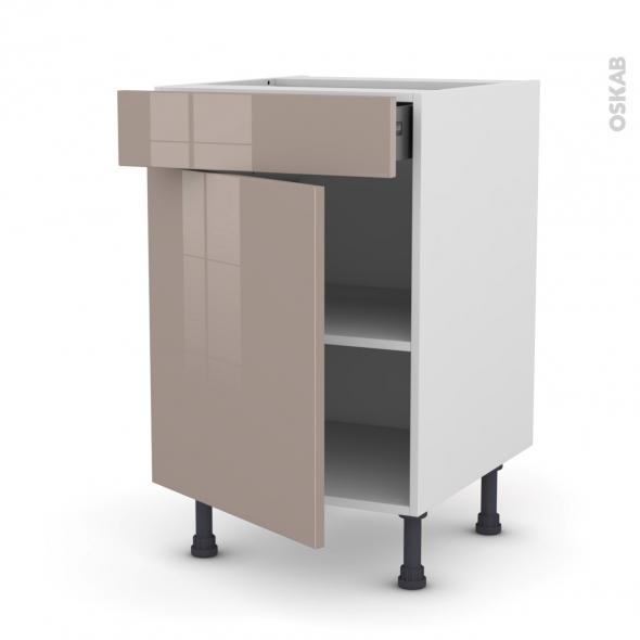 Meuble de cuisine - Bas - KERIA Moka - 1 porte 1 tiroir  - L50 x H70 x P58 cm