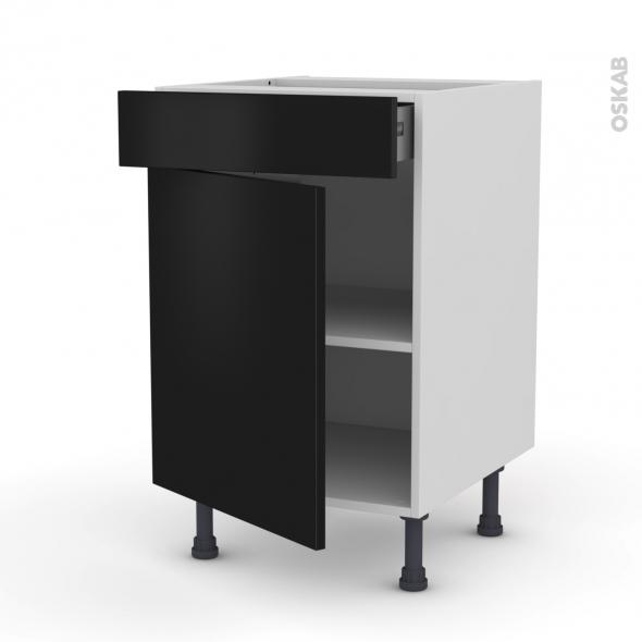 GINKO Noir - Meuble bas cuisine  - 1 porte 1 tiroir - L50xH70xP58