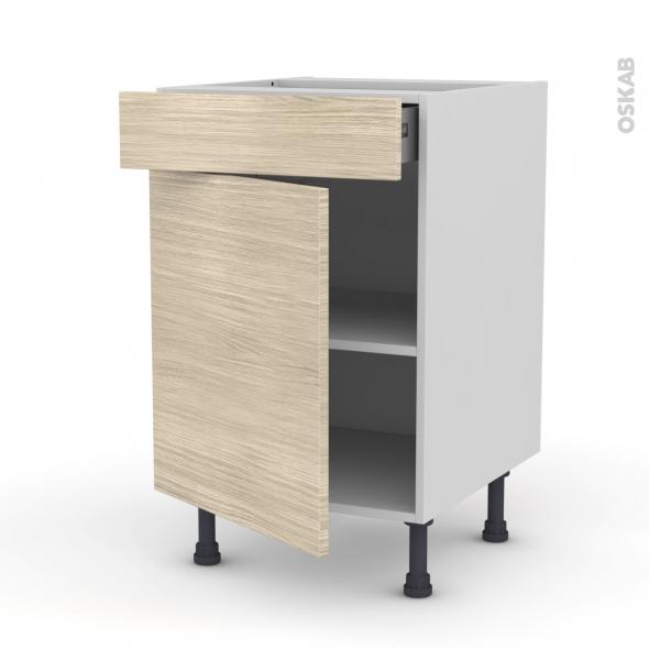 STILO Noyer Blanchi - Meuble bas cuisine  - 1 porte 1 tiroir - L50xH70xP58