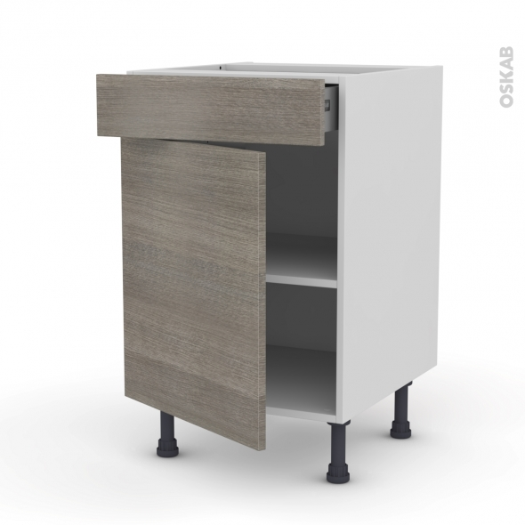 STILO Noyer Naturel - Meuble bas cuisine  - 1 porte 1 tiroir - L50xH70xP58
