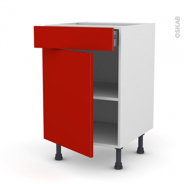 GINKO Rouge - Meuble bas cuisine  - 1 porte 1 tiroir - L50xH70xP58