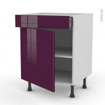Meuble de cuisine - Bas - KERIA Aubergine - 1 porte 1 tiroir - L60 x H70 x P58 cm
