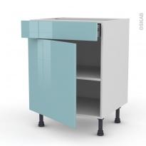 Meuble de cuisine - Bas - KERIA Bleu - 1 porte 1 tiroir - L60 x H70 x P58 cm