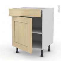 BASILIT Bois Vernis - Meuble bas cuisine  - 1 porte 1 tiroir - L60xH70xP58