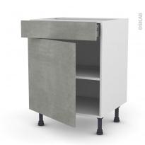 Meuble de cuisine - Bas - FAKTO Béton - 1 porte 1 tiroir - L60 x H70 x P58 cm