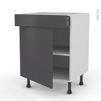 Meuble de cuisine - Bas - GINKO Gris - 1 porte 1 tiroir - L60 x H70 x P58 cm