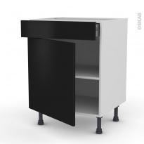 GINKO Noir - Meuble bas cuisine  - 1 porte 1 tiroir - L60xH70xP58