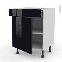 Meuble de cuisine - Bas - KERIA Noir - 1 porte 1 tiroir - L60 x H70 x P58 cm