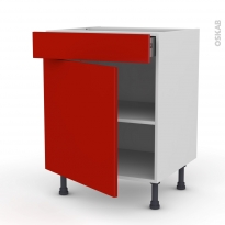 GINKO Rouge - Meuble bas cuisine  - 1 porte 1 tiroir - L60xH70xP58
