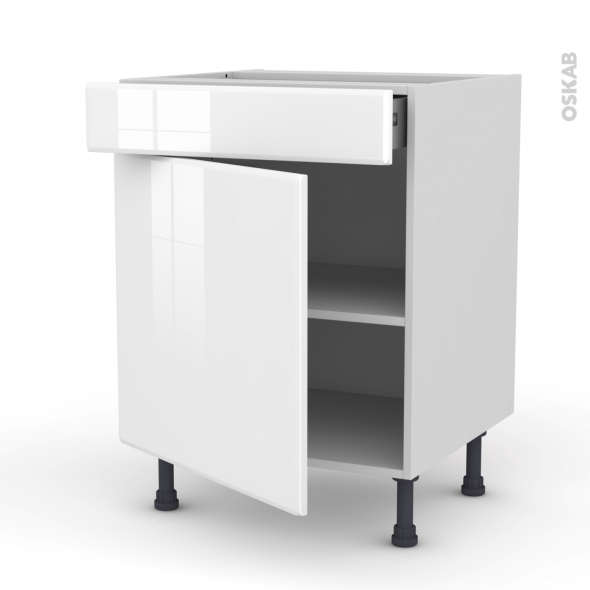 Meuble de cuisine - Bas - IRIS Blanc - 1 porte 1 tiroir - L60 x H70 x P58 cm