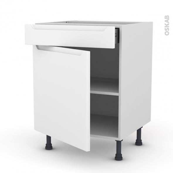 PIMA Blanc - Meuble bas cuisine  - 1 porte 1 tiroir - L60xH70xP58