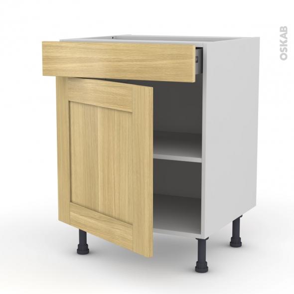BASILIT Bois Brut - Meuble bas cuisine  - 1 porte 1 tiroir - L60xH70xP58