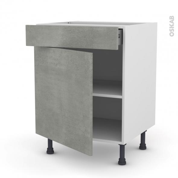 FAKTO Béton - Meuble bas cuisine  - 1 porte 1 tiroir - L60xH70xP58