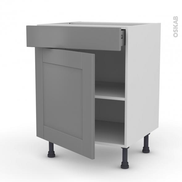 Meuble de cuisine - Bas - FILIPEN Gris - 1 porte 1 tiroir - L60 x H70 x P58 cm